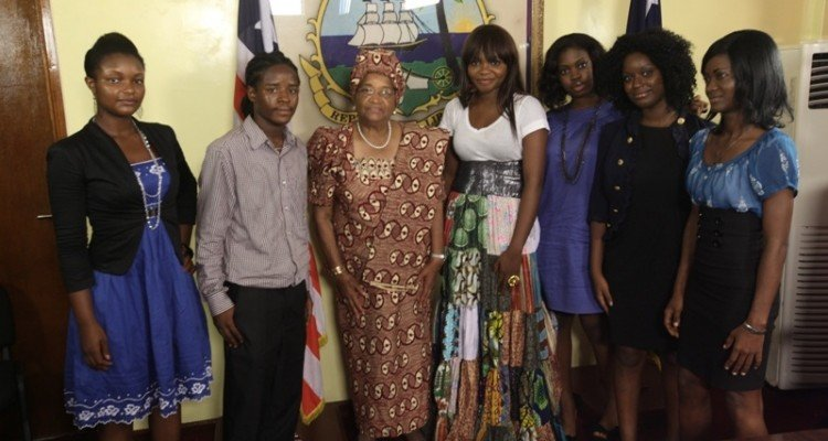 Madame Ellen Johnson-Sirleaf, President of Liberia during MTV Base Meets with MTN shoot in Monrovia with panelists