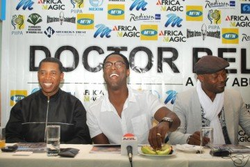 Director, John Abulu, Isaiah  Wahsington and Jimmy Jean-Louis at the press conference