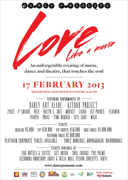fab concert darey art alade to stage love like a movie concert for valentines day