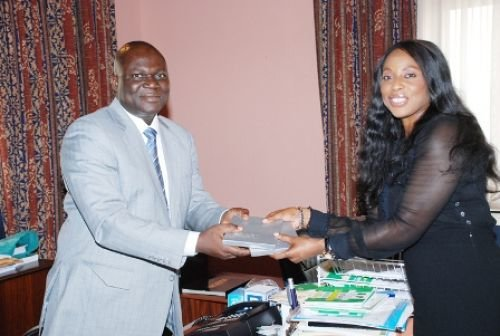 Reuben Abati and Mo Abudu during the her visit to the Presidency