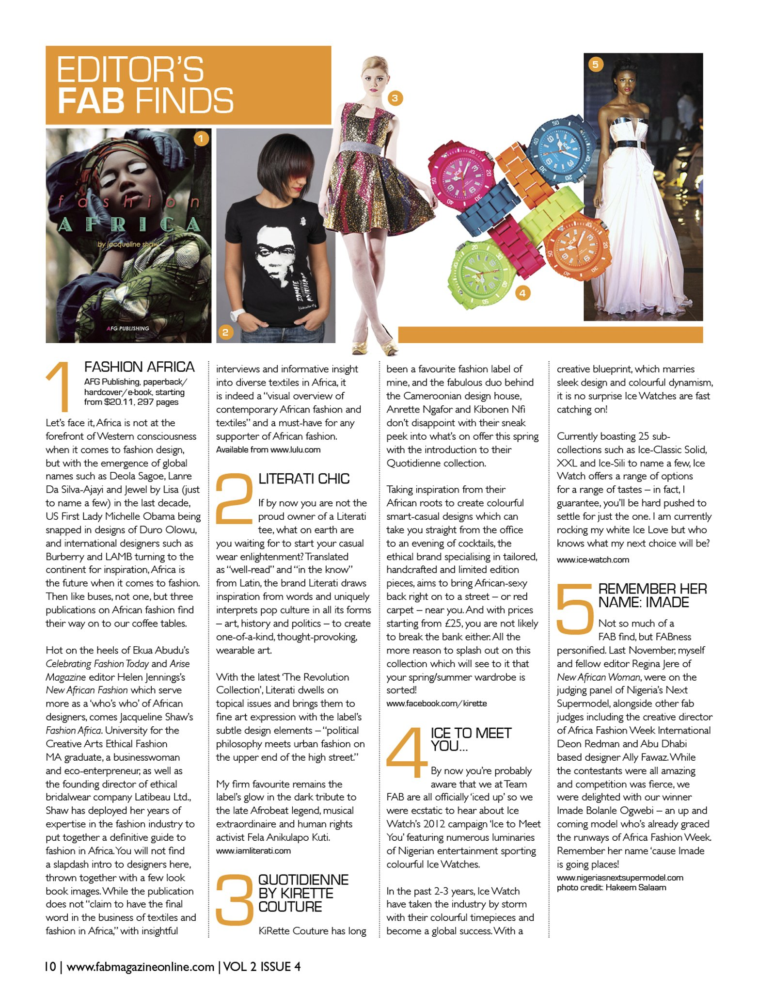 Review of Fashion Africa in Issue 8 of FAB Magazine