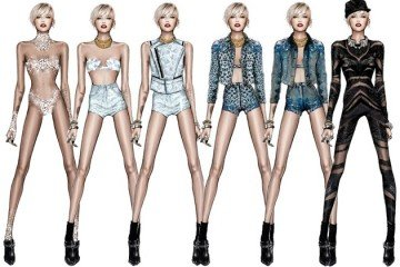 FAB Fashion Roberto Cavali For Miley Cyrus, Check Out The Sketches For Miley's Bangerz Tour Outfits (7)