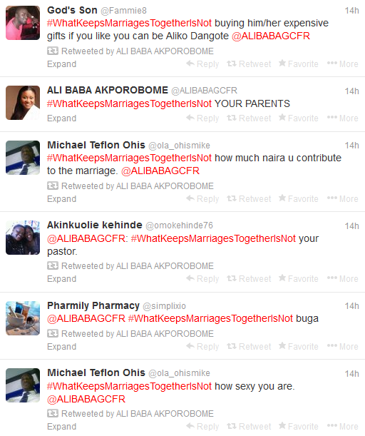The Power Of Hashtag, Ali Baba Keeps The Coversation Going On #WhatKeepsMarriagesTogetherIsNot For 14 Hours (3)