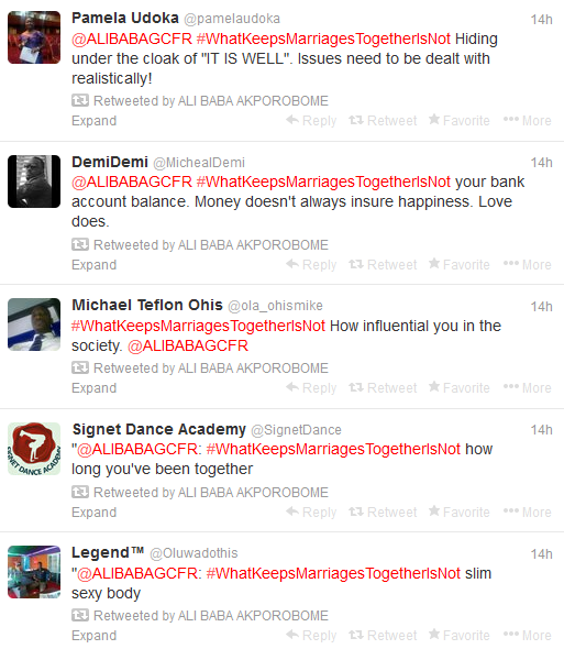 The Power Of Hashtag, Ali Baba Keeps The Coversation Going On #WhatKeepsMarriagesTogetherIsNot For 14 Hours (4)