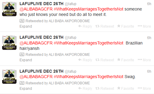 The Power Of Hashtag, Ali Baba Keeps The Coversation Going On #WhatKeepsMarriagesTogetherIsNot For 14 Hours (5)
