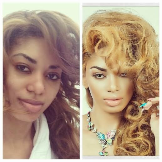 Nigerian celebrities before and after makeup Dencia