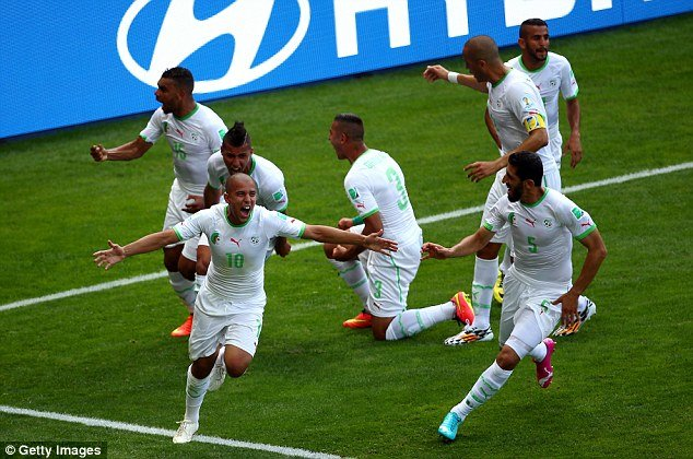 Wild celebrations by the North Africans after first World Cup goal in almost 3 years!