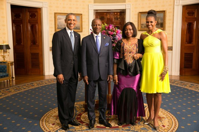 His Excellency Alpha Conde, President of the Republic of Guinea, and Mrs. Djene Kaba Conde