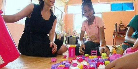 Kim and Pink In Thai Orphanage