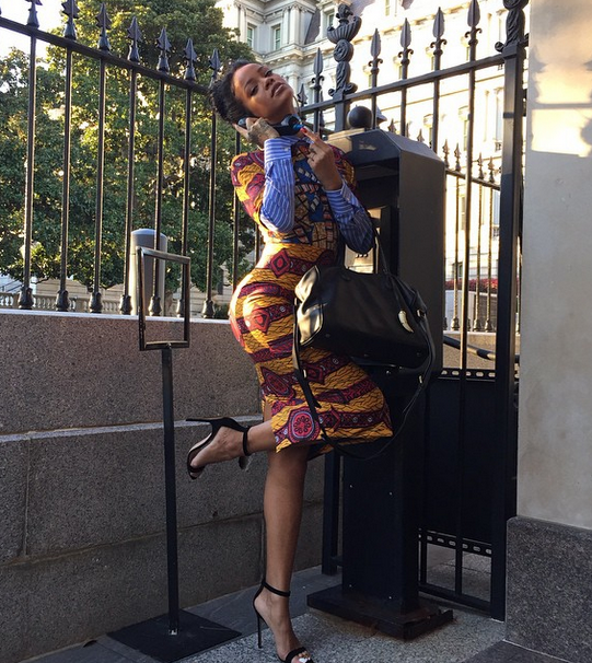 Rihanna in Stella Jean's Ankara Print Shirt Dress