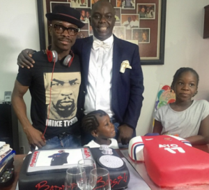 Ayo animashaun  with comedian Julius Agwu and his daughters