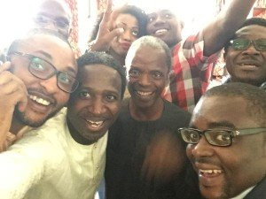 we did it! New V.P. Elect Osinbanjo (center) in first selfie with jubilant supporters
