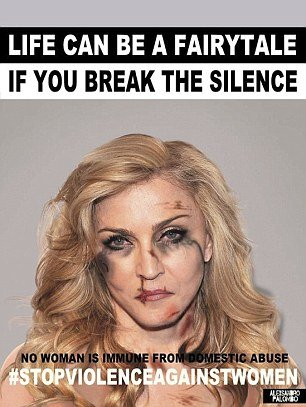 01 Dec 2015 Madonna Italian artist Alexsandro Palombo disfigures (in photos) eight international stars to denounce violence against women worldwide. BYLINE MUST READ : NO CREDIT *AVAILABLE FOR UK SALE ONLY* ***UK CLIENTS - PICTURES CONTAINING CHILDREN PLEASE PIXELATE FACE PRIOR TO PUBLICATION *** **UK CLIENTS MUST CALL PRIOR TO TV OR ONLINE USAGE PLEASE TELEPHONE  +44 208 344 2007